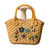 Small Straw Floral Handbag, Double Handles