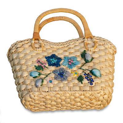 Small Straw Floral Handbag 4, Double Handles