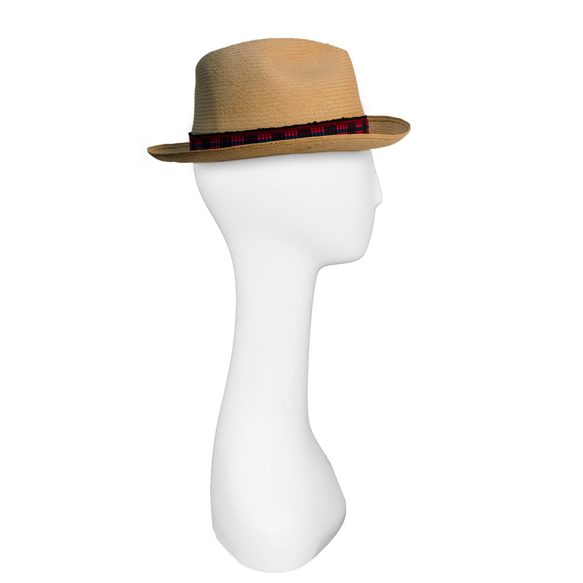 Straw Fedora, Red & Black Hatband 3
