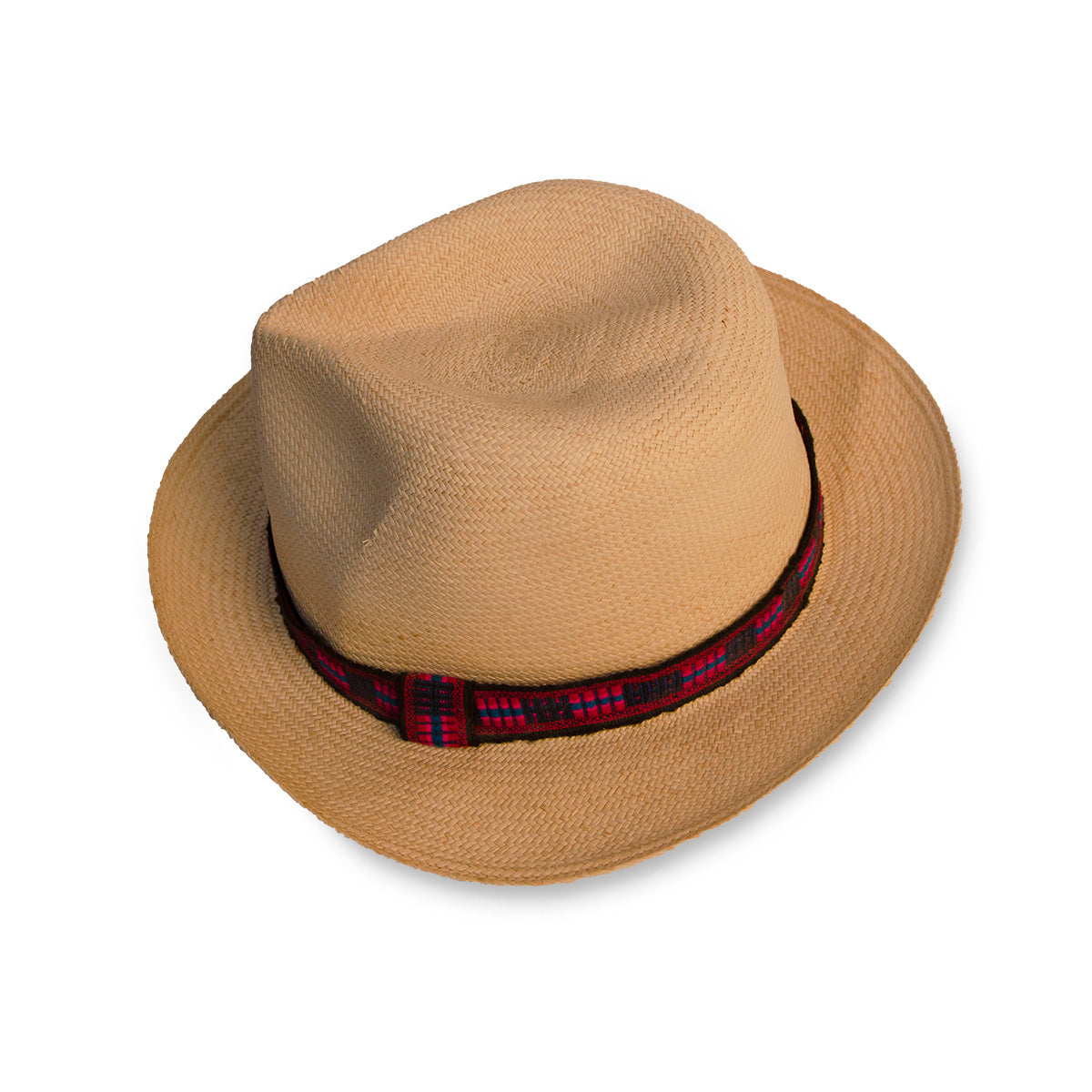 Straw Fedora, Red & Black Hatband 6