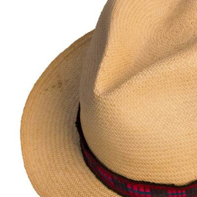 Straw Fedora, Red & Black Hatband 7