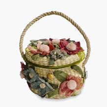 1960s Straw Flower Handbag