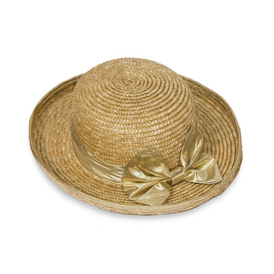 Vintage Straw Hat, Gold Lame Bow & Hatband