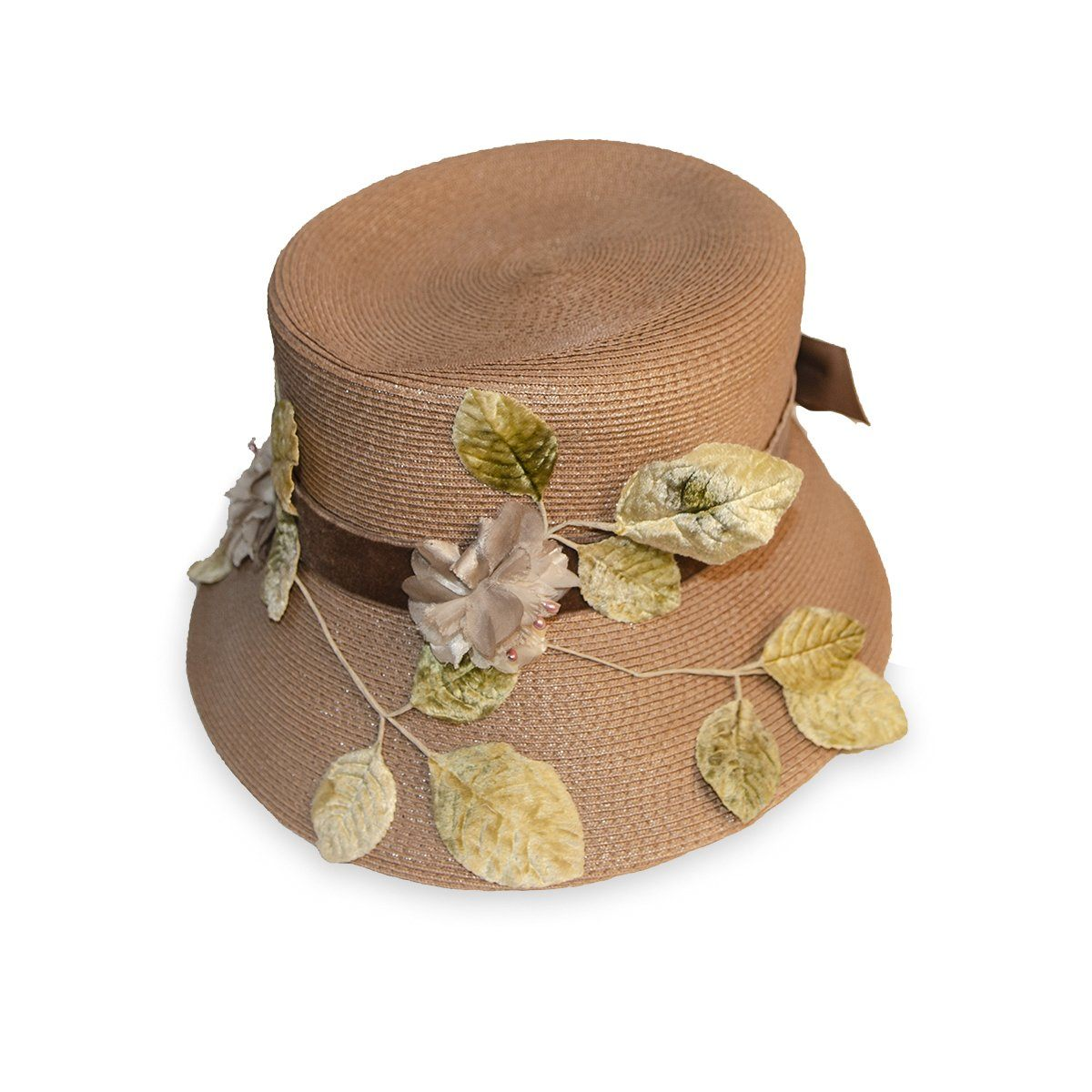 Vintage Straw Hat with Silk Leaves & Brown Velvet Bow