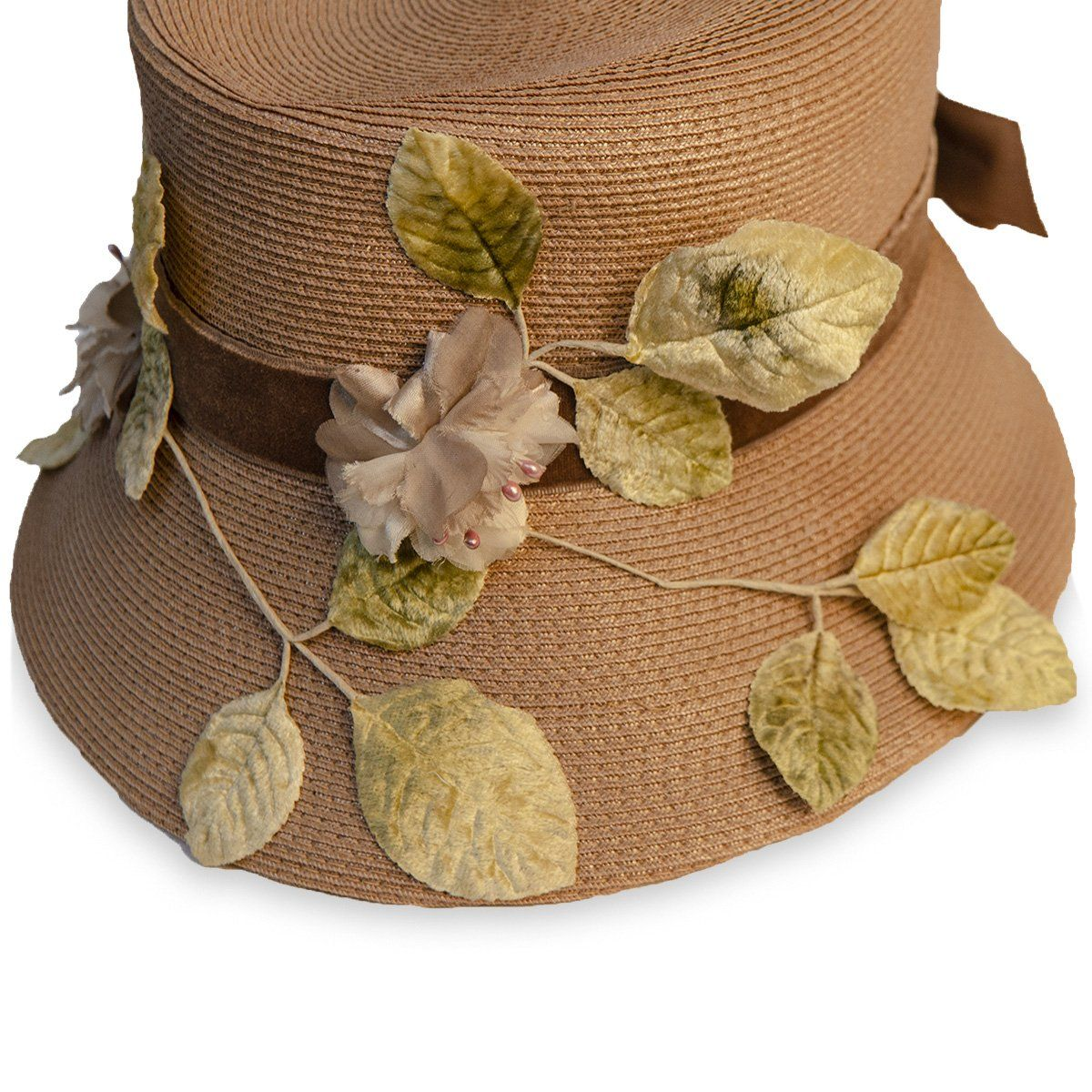 Vintage Straw Hat with Silk Leaves & Brown Velvet Bow 7