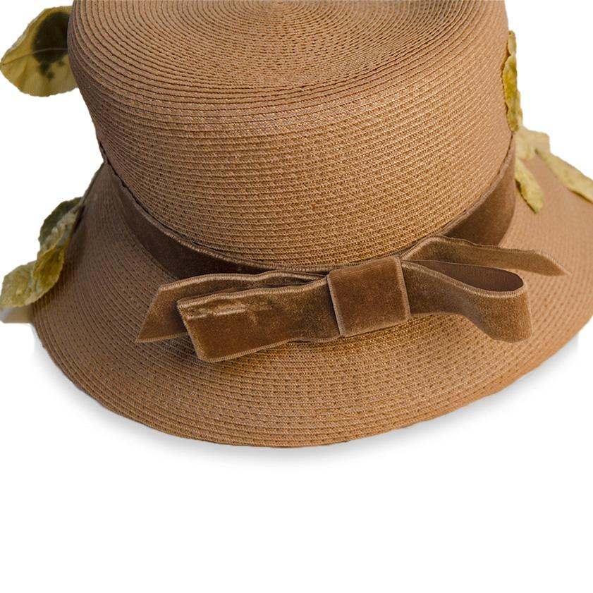 Vintage Straw Hat with Silk Leaves & Brown Velvet Bow 8
