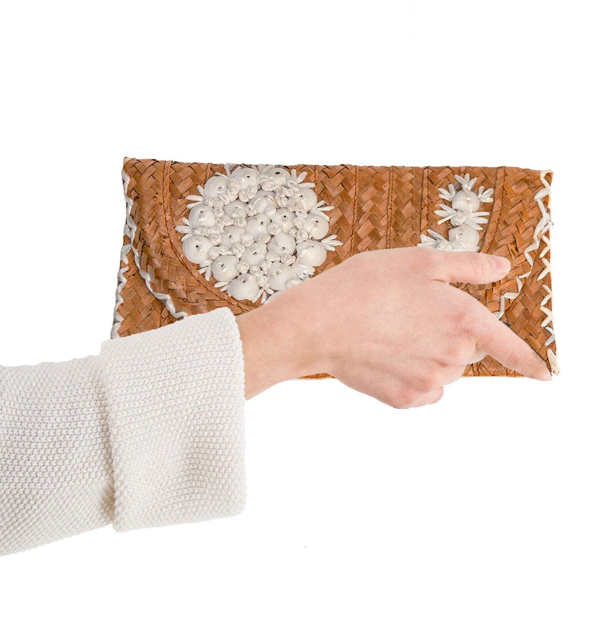 Vintage Straw Envelope Clutch with Seashells
