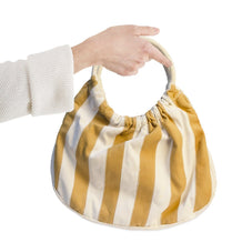 Vintage Striped Canvas Tote Handbag, Gold & Cream Stripes