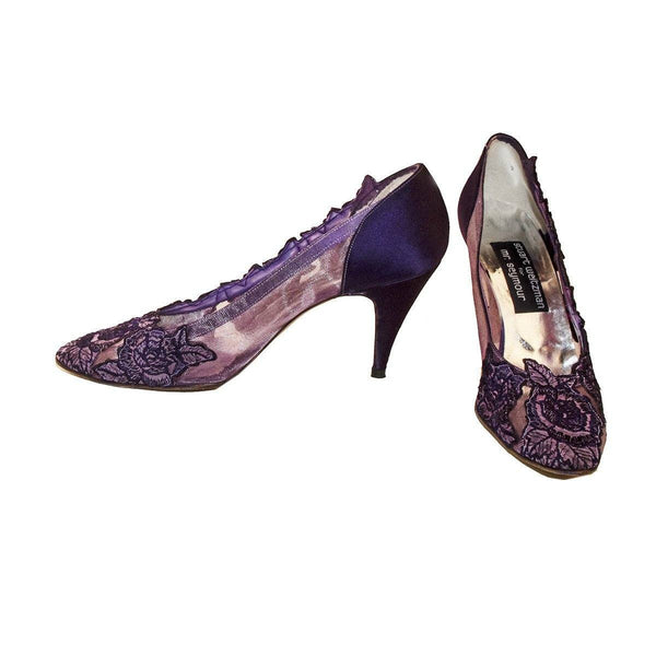 Stuart Weitzman Purple Lace Pumps, Size 9 Narrow