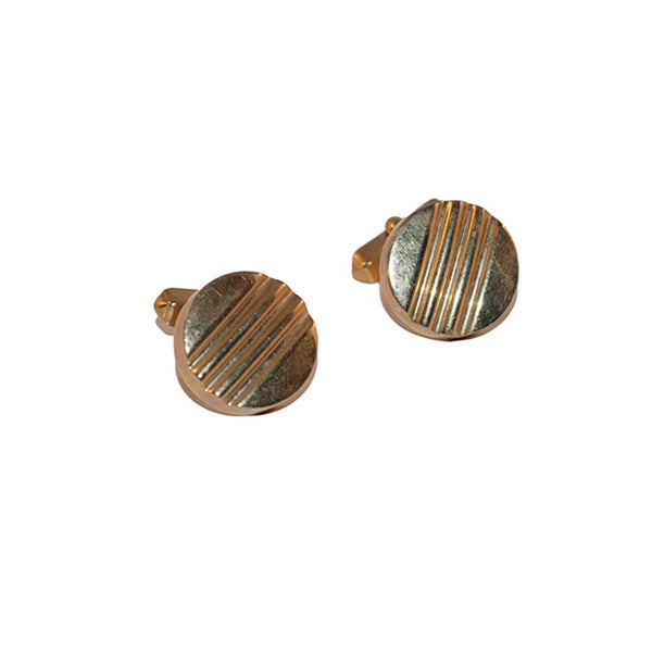 1960s Grooved Gold Metal Cuff Links by Swank
