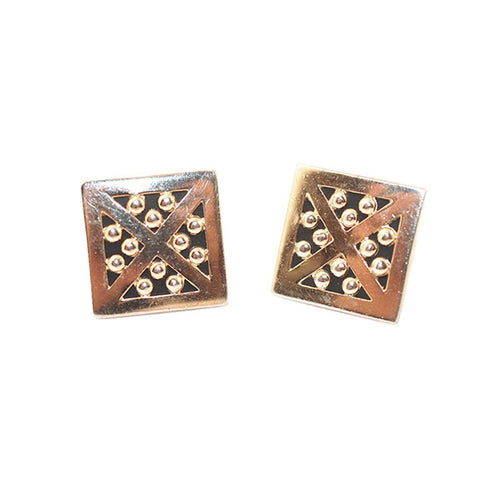 Vintage Swank Modernist Cuff links, Gold Metal