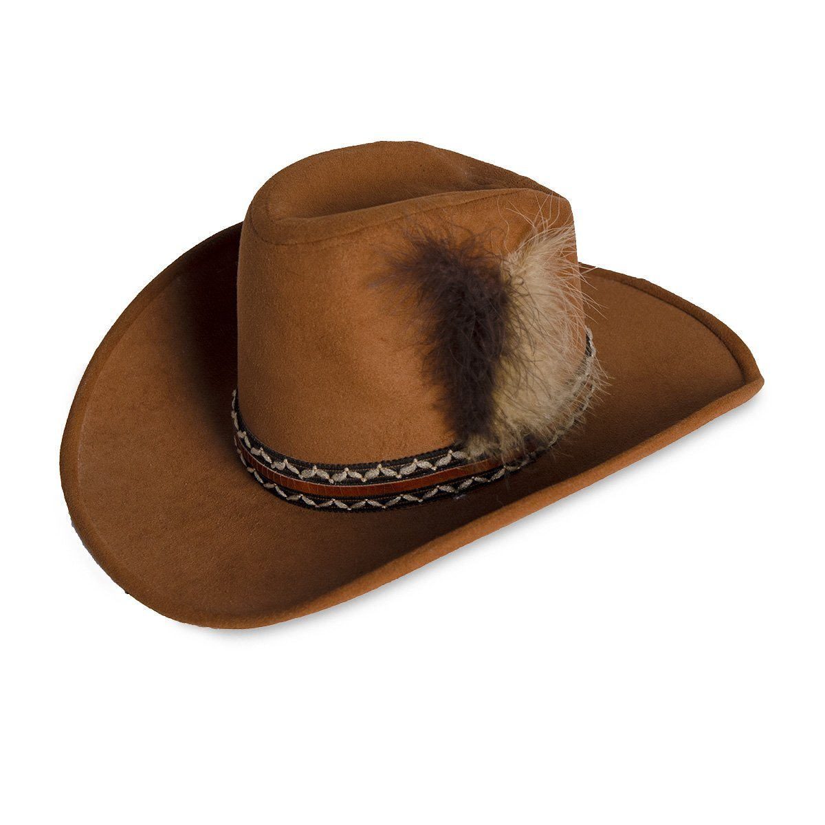 Vintage Cowboy Hat 2, Dark Tan Wool Felt, Feathers