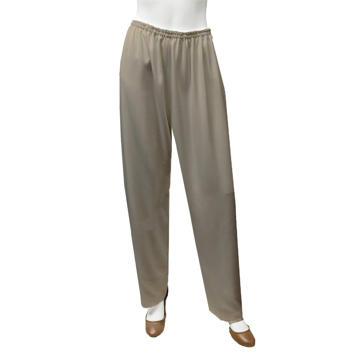 Tan Straight Leg Pants 4, Elastic Waist, XL