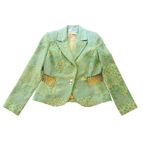 Terry Paris Green Brocade Blazer with Silver Chain Accents, Size 10