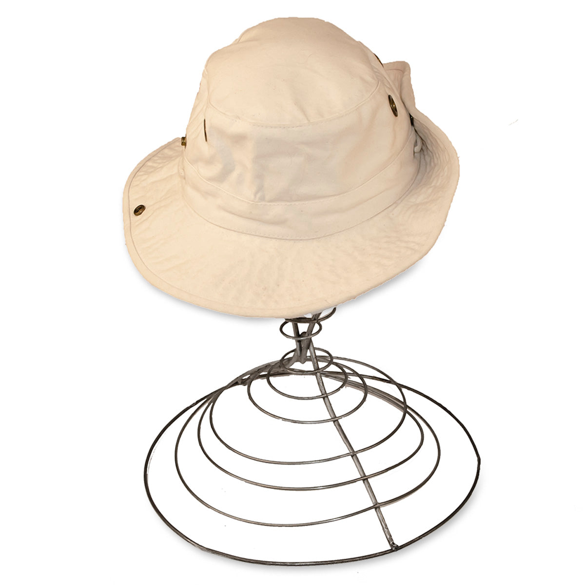 Tilly Travel Hat, Snap up Brim, Cream Canvas, Size 7 1/8