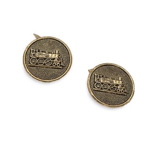 Vintage Train Cufflinks, Antique Gold Metal