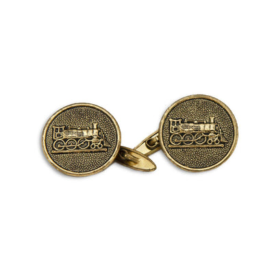 Vintage Train Cufflinks 2, Antique Gold Metal