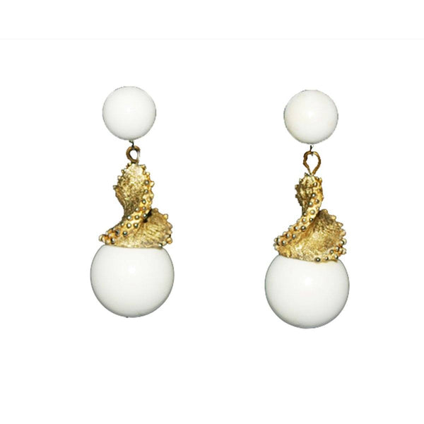 1960s Triafri White Drop Earrings with Gold Spiral Detail