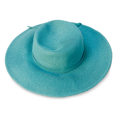 Turquoise Wide Brim Straw Sun Hat, Size 21.5