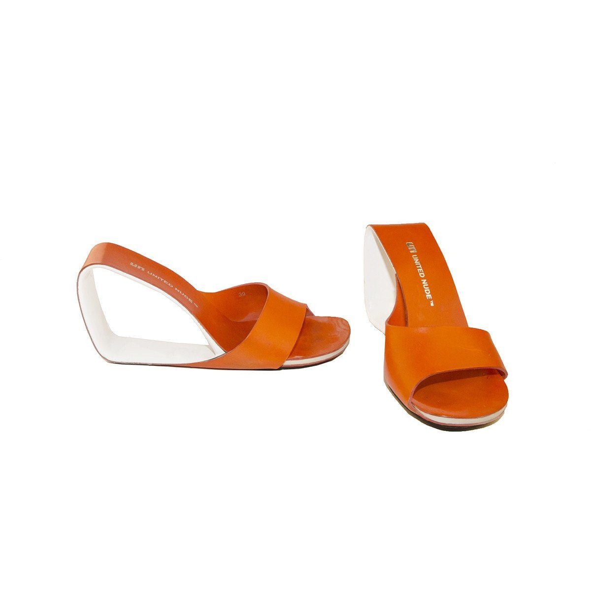 United Nude Mobius Open Wedge Shoe, Orange & White, Size 9