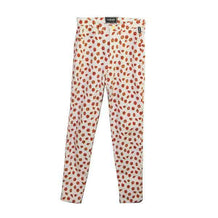 Versace Skinny Jeans, White & Red Floral Print, US 28, IT 42