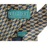 1980s Men's Navy Silk Tie by Bolgheri, Cubist Pattern 4
