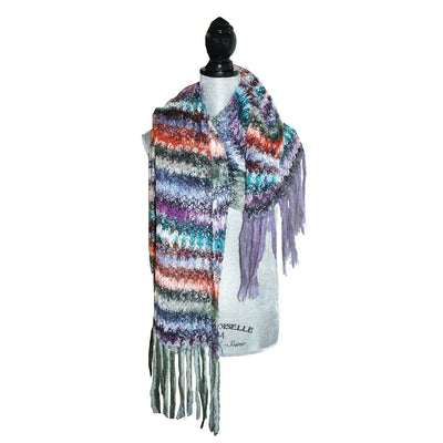 Vintage Long Fringed Shawl 2, Hand Crocheted Mohair, Multi-Color