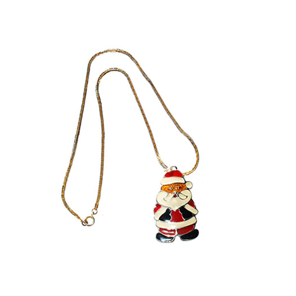 "Santa Claus Pendant Necklace by Wallace Silversmiths, 20"" Chain"