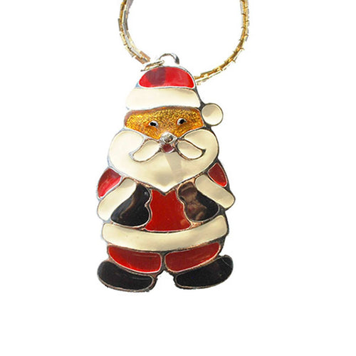 "Santa Claus Pendant Necklace 3 by Wallace Silversmiths, 20"" Chain"