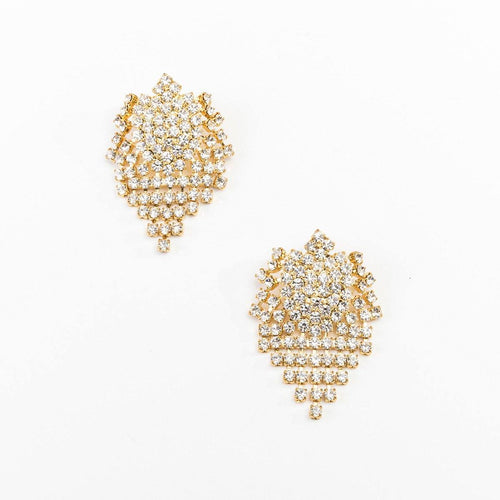 Vintage 80s Rhinestone Waterfall Chandelier Earrings