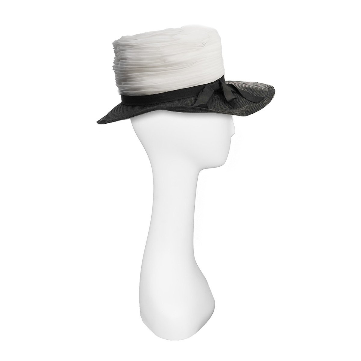 Straw and Silk Chiffon Hat in Black & White 3
