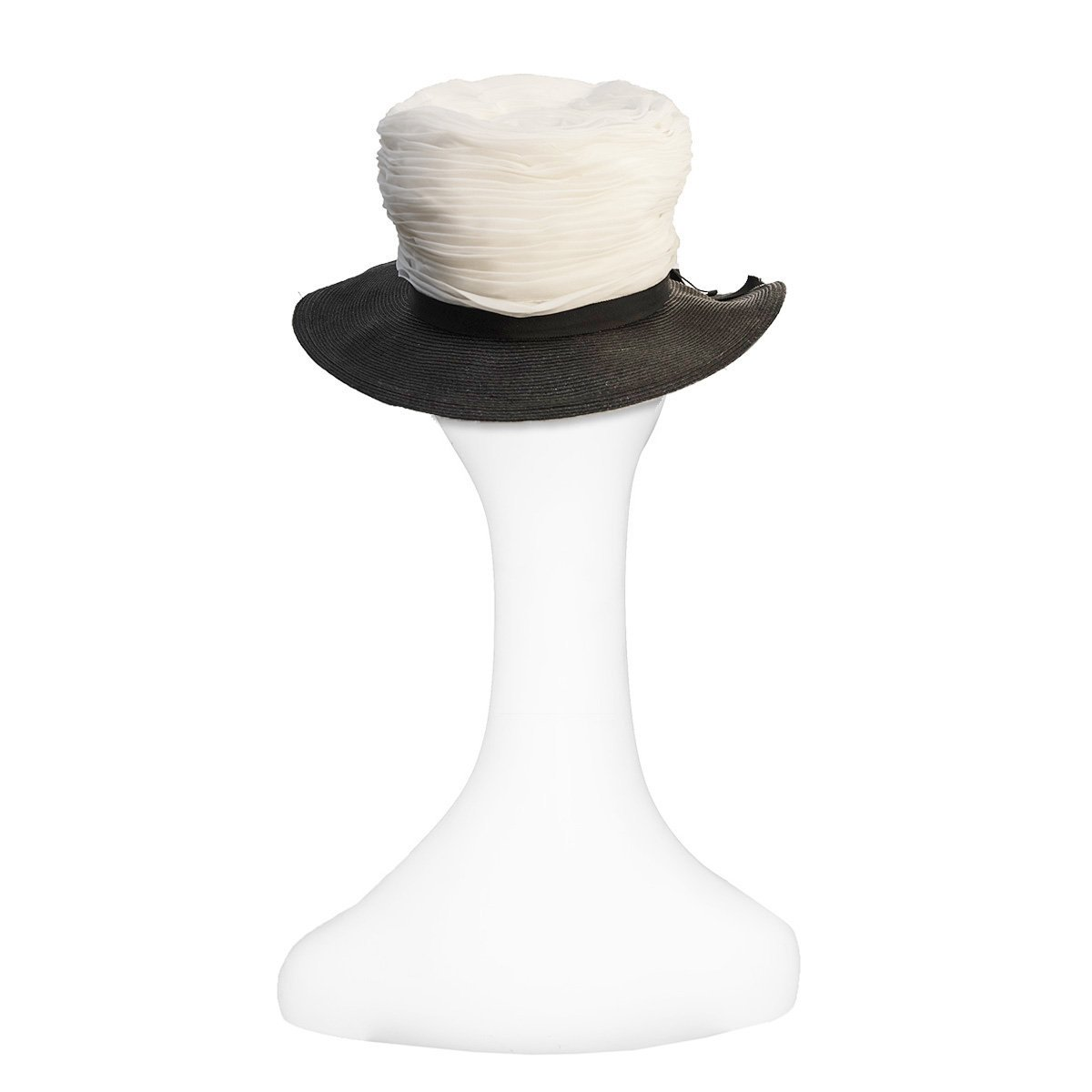 Straw and Silk Chiffon Hat in Black & White 4