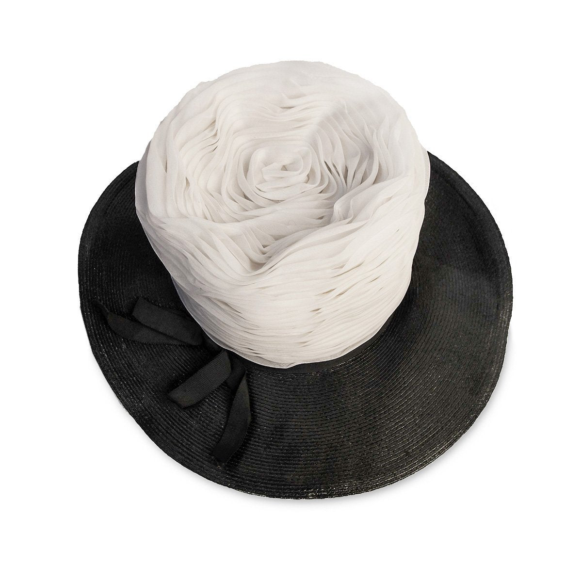 Straw and Silk Chiffon Hat in Black & White