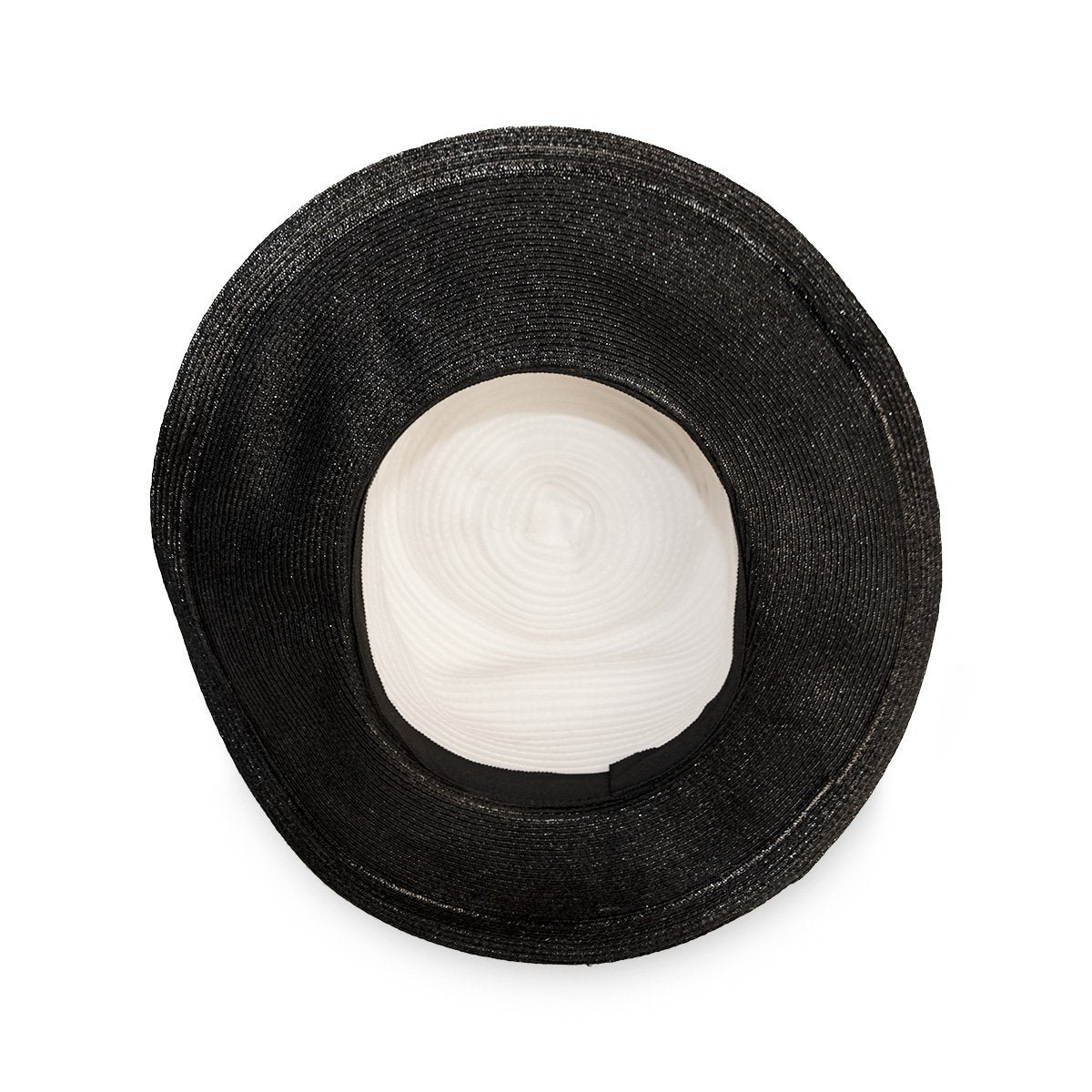 Straw and Silk Chiffon Hat in Black & White 6