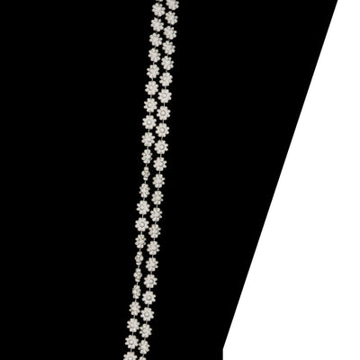 1960s Long White Bead Necklace 6, Double Strand Daisy Beads