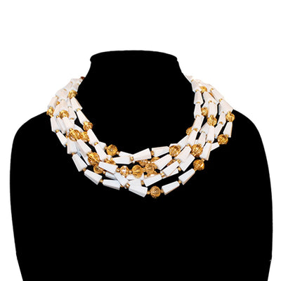 "1960s Multi-strand Necklace, 19"" Gold Metal & White Thermoset Beads"