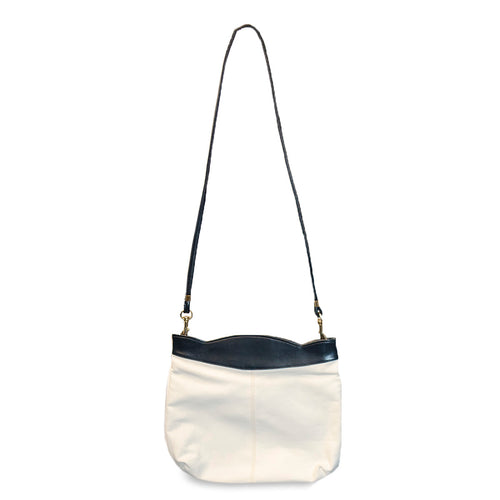 Vintage White & Navy Leatherette Shoulder Bag