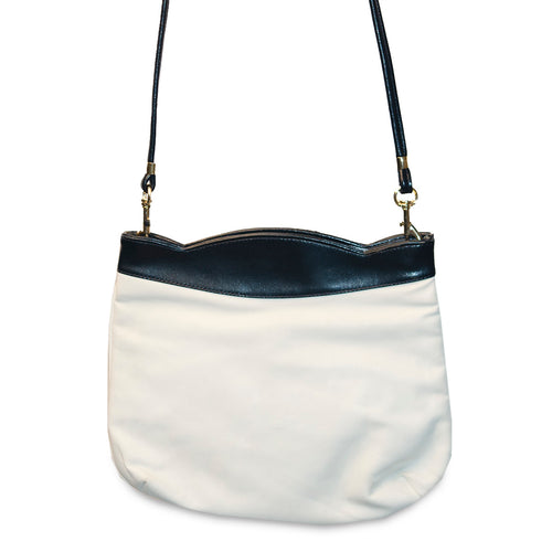 Vintage White & Navy Leatherette Shoulder Bag 2