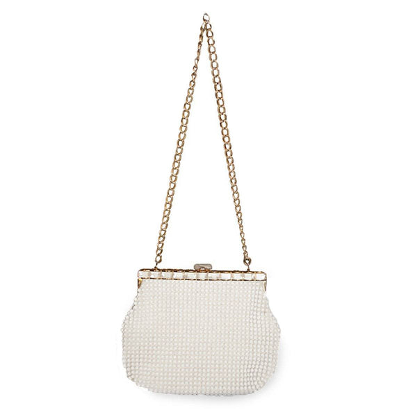 1960s White Beaded Handbag, La Regale Hong Kong