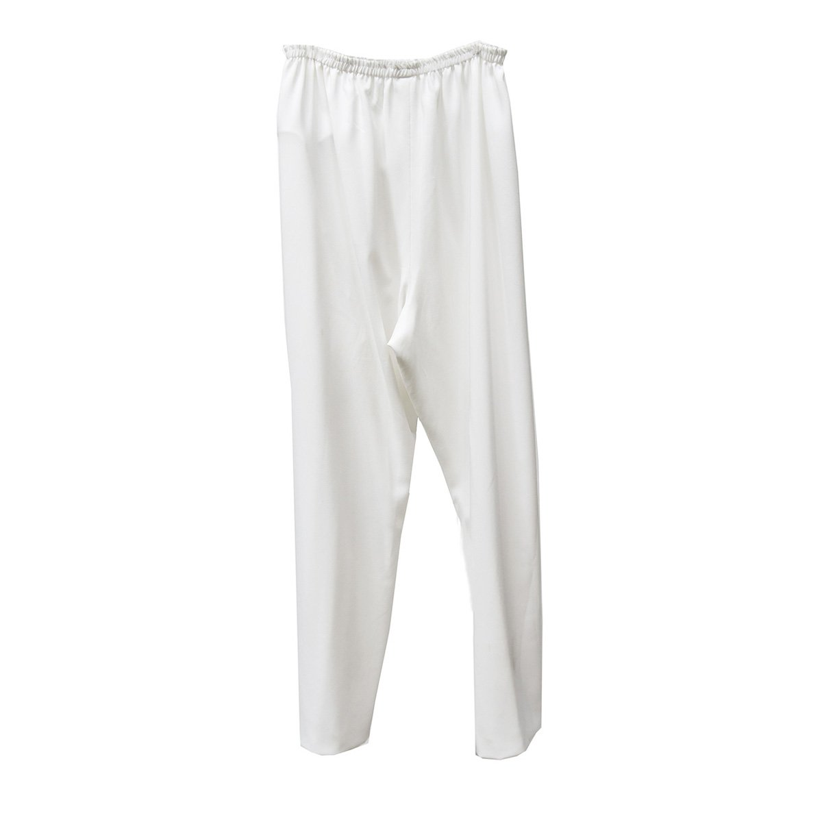 White Straight Leg Pants 2, Elastic Waist, XL