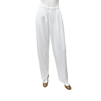 White Straight Leg Pants, Elastic Waist, XL