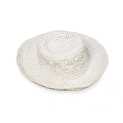 Vintage Floppy White Straw Hat, Size 21