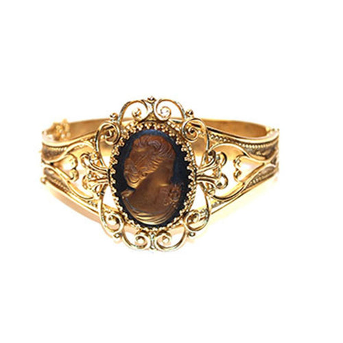 Whiting & Davis Glass Cameo Bracelet