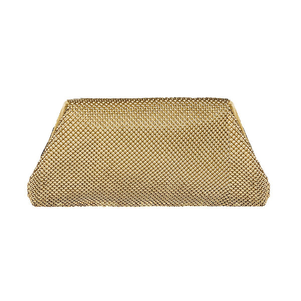 Whiting & Davis Rhinestone & Gold Metal Mesh Clutch