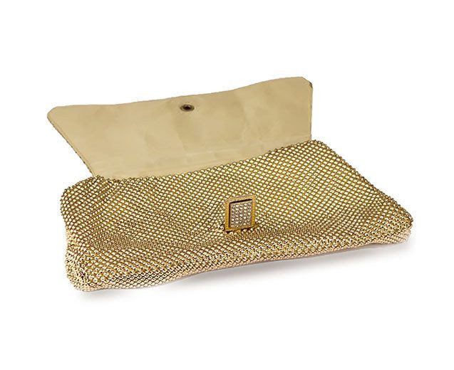 Whiting & Davis Rhinestone & Gold  Metal Mesh Clutch 3