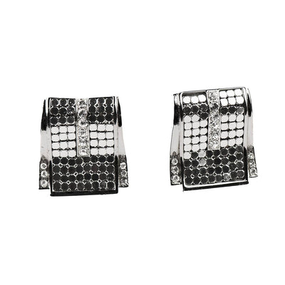 Silver Mesh & Rhinestone Pierced Earrings by Whiting & Davis 2