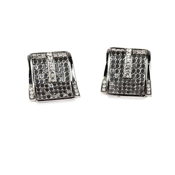Silver Mesh & Rhinestone Pierced Earrings by Whiting & Davis