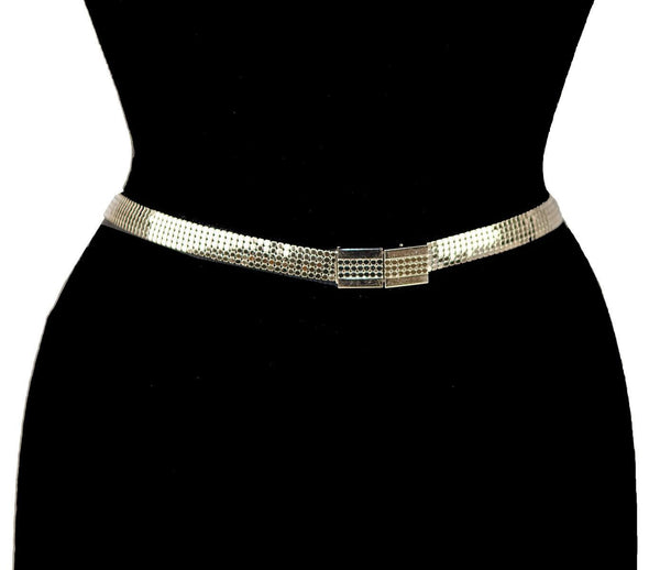 Whiting & Davis Gold Mesh Belt, Modernist Buckle, Adjustable