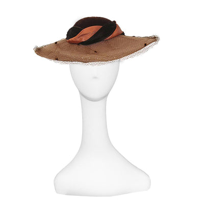 Whittall & Javits Brown Velvet & Wool Felt Wide-brim Hat 5 with Netting, Hat Size 22