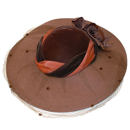 Whittall & Javits Brown Velvet & Wool Felt Wide-brim Hat with Netting, Hat Size 22